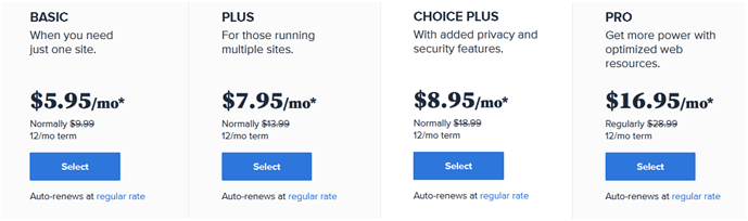 bluehost pricing shared hosting