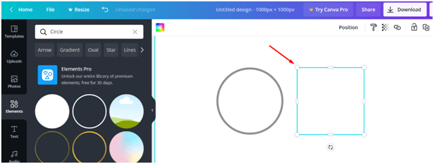 circle in canva